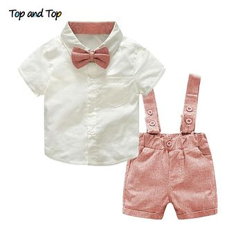 Top and Top Formal Geltleman Baby Clothing Set Short Sleeve Tie Shirt+Suspenders Shorts Casual Wedding Party Birthday Outfits
