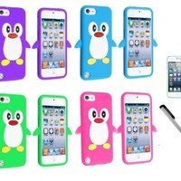 [Pack of 4] Ipod Touch 5 5th Generation Penguin Silicone Case Cover - Aqua Blue, Hot Pink, Green, Purple with Screen Protector And NanoCell4All Premium Capacitive Stylus Pen (Bundle: 4 Penguin Silicone Cases, 1 Screen Protector, 1 Capacitive Stylus Pen)