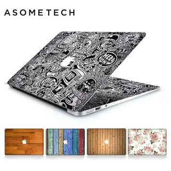 Wooden Flower Grain Laptop Skin Sticker Decal For Apple Macbook Air Pro Retina 11 12 13 15 Inch Mac US keyboard Protective Cover