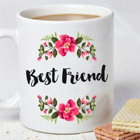 Personalised Best Friend Flower Mug