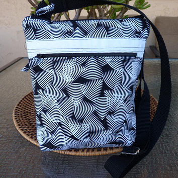 Handcrafted Black and White Small Cross Body  Bag/Sling Bag/Small Purse with Outside Pocket and Adjustable Strap