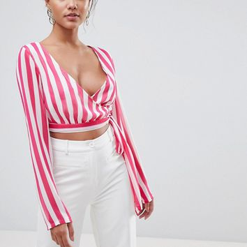 PrettyLittleThing Striped Wrap Top at asos.com