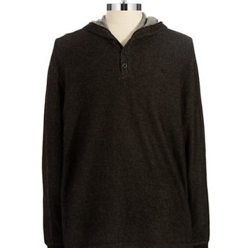 Black Brown 1826 Thermal Henley Cotton Knit Shirt