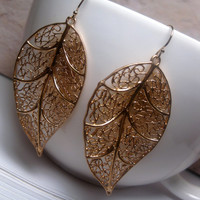 Large Gold Leaf Filigree Web Dangle Earrings With 14k GF