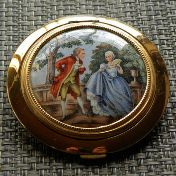 Vintage rare French Estate Romantic Lovers Detailed Beaded Brass Mirrored Compact