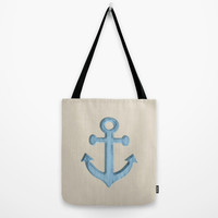 Rustic Anchor tote bag, beach tote, washable tote bag, nautical tote, shopping bag, beach bag, grocery bag, large tote, blue tote, tan bag