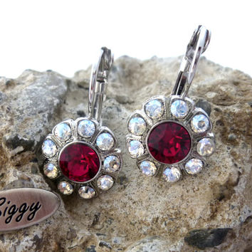 Swarovski crystal flower earrings Siam red with sparkly accents , **SELECT-A-FINISH** Holiday Wedding earrings, Siggy Jewelry