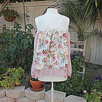 Rose Shirt Upcycled | Hand Dyed Women's Clothing | Large X-Large Shabby Ladies Shirt