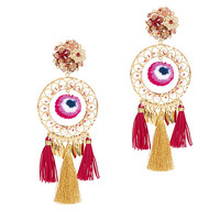 Mercedes Salazar Tassel Fringe Circle Earrings at INTERMIX | Shop Now | Shop IntermixOnline.com