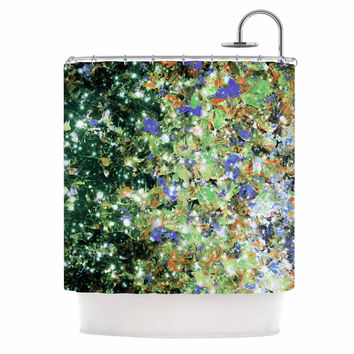 """Ebi Emporium """"Into To The Night Green Purple"""" Lime Lavender Shower Curtain"""