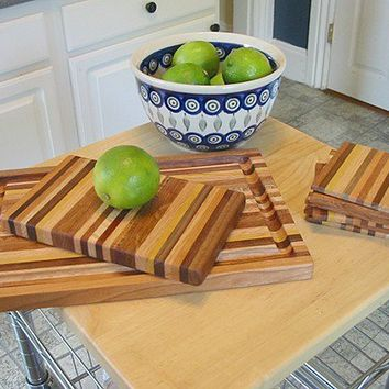 Handmade Mini Wood Cutting Boards with Matching Coaster Set - Cherry & Mahogany