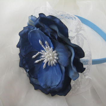Handmade Toddler Children Headband, Dark Blue Silk Flower, Pearls and Lace, Casual or Dressy Hair Accessory