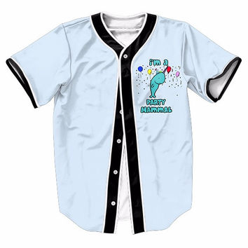 Party Mammal Dolphin Baseball Jerseys New Hip Hop Streetwear US Size Buttons Homme 3D Printing Shirt Brand Clothing
