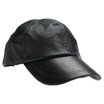 New Mens Black Solid Leather Baseball Ball Cap hat Biker Trucker Sports Visor