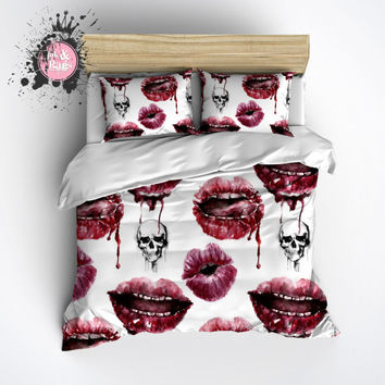 Lightweight Skull Bedding -  Oh la la Lips and Skull Design - Comforter Cover, Skull Duvet Cover, Skull Duvet and Pillow Case Set