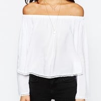 New Look Pom Pom Trim Off The Shoulder Top