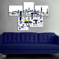 "Made to order. Original abstract painting. 5 piece canvas art. 29x41"" Large painting of New York's skyline. Modern wall art. Contemporary"