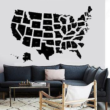 Wall Decal Map USA Premium Quality School States Vinyl Sticker Unique Gift (z2838)