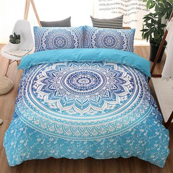 Mandala Bedding Single Double US Twin Full Queen King Size Bohemian Duvet Cover Set Blue Boho 3D Spiritual Patterns Bedclothes