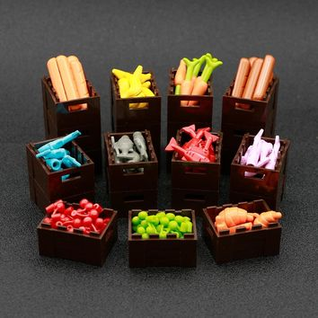 City Friends Building Blocks Carrot Cherry Banana Fish Food Basket Fruits Minecrafted Brick Toy Compatible LegoINGly Accessories