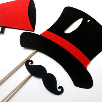 Circus Party Props. Photo booth Props. Wedding Photo Props. Photo Props. Mustache on a Stick. Props on a Stick - The Ringmaster Maro Kit