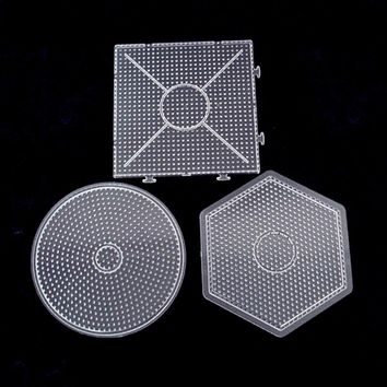 JIMMY BEAR 1 Pcs Square Round Hexagon Pegboards Transparent For 5mm Hama Beads DIY Kids