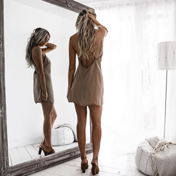 Nude Silky Slip Dress