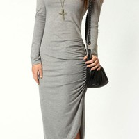 Dolly Cut Out Shoulders Ruched Side Midi Dress - OASAP.com