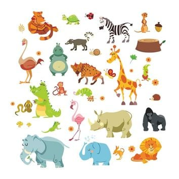 Jungle wild animals DIYwall sticker for kids baby nursery room cartoon wall stickers home decor 1228. funiture decoration