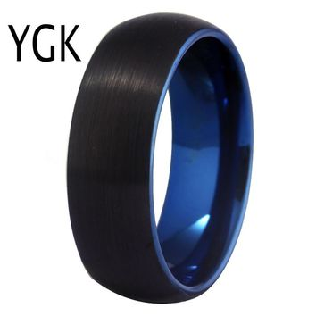 Classic Ring for Women Tungsten Blue Black Rings Fashion Custom engraving Jewelry Wedding Engagement Anniversary Ring Party Ring