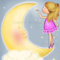 Girl and moon wall art. childrens room decor kids art by jolinne