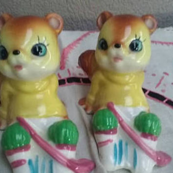 Vintage Squirrels Salt And Pepper  Shakers Squirrel  Hockey Players Made in Japan Kitsch