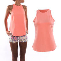 SIMPLE - Beach Sleeveless Top Women Tank Vest T-Shirt a12288
