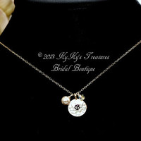 Personalized Initial Bridal Necklace with Swarovski Pearl Charm, Sterling Silver, Hand Stamped Jewelry, Bridal Jewelry, Wedding Jewelry,