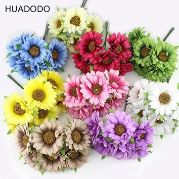 HUADODO 6pcs Daisy Artificial flower silk sunflower bouquet for Wedding Decoration Scrapbooking DIY wreaths craft flowers