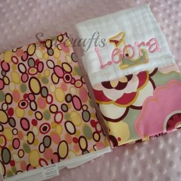 Leora Personalized set of two Premium Quality 6-ply Burp Cloths