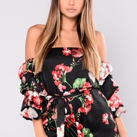 Upon A Dream Floral Romper - Black