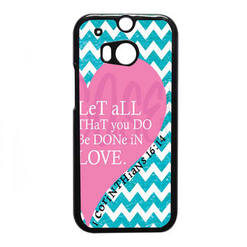 Pink Heart Chevron Bible 1 Corinthians FOR HTC One M8 CASE *NP*