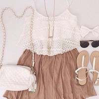 White and Brown Spaghetti Strap Pleated Dress