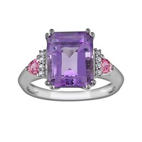 10k White Gold Amethyst, Pink Sapphire & Diamond Accent Ring (Purple)