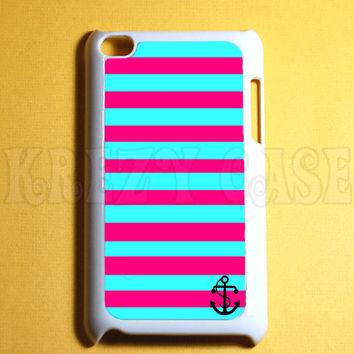 Ipod Touch 4 Case - Anchor with pink and turquoise stripe Ipod 4G Touch Case, 4th Gen Ipod Touch Cases