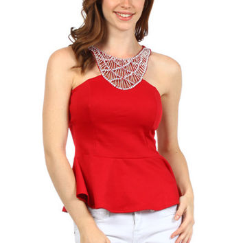Sequin Fit and Flare Top - Red