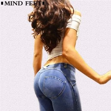 MIND FEET Women Peach Jeans Lift Hips Skinny Casual Denim High Elastic Pants Push Up Jeggings Slim Women Jeans Pencil Pants