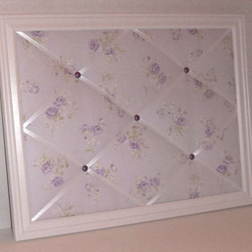 Shabby Chic Purple Rose fabric ~ White Wood Frame Memo Board by ToileChicBoutique