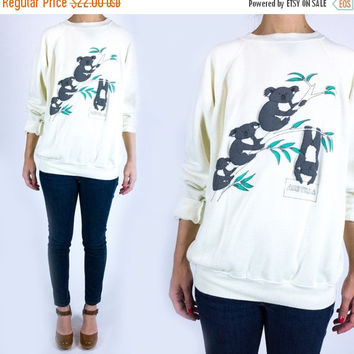 SPRING CLEARANCE SALE Vintage 1980s Novelty Koala Print Australia Tourism Super Soft Bright White Sweatshirt Any Size
