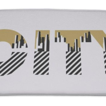 Bath Mat, City Word With Geometric Figures In The Style Of The Bauhaus Retro Poster