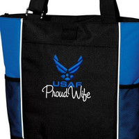 Proud Air Force Wife USAF Custom Embroidered Tote Bag Military Pride Troop Support