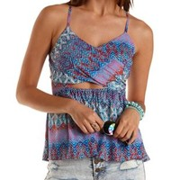 Strappy Crossover Cut-Out Tank Top by Charlotte Russe