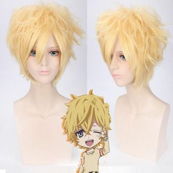 Karneval YOGI Wig Cosplay Man Boys Short Curly Fake Hair Wig Sale 30cm High Quality Heat Resistant Synthetic Blond Wig