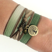 Tree of Life Silk Wrap Bracelet Yoga Jewelry Earthy Friendship Purple Mother Olive Green Unique Christmas Gift For Her Under 50 Item S6